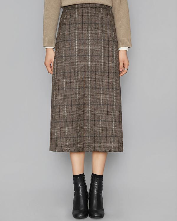 classic check side slit skirt (2 colors)