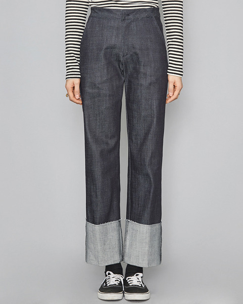 selvage roll up denim pants