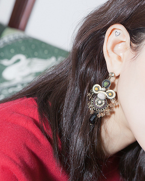 ethnic big drop earring