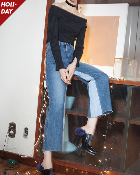 unique coloring wide denim pants