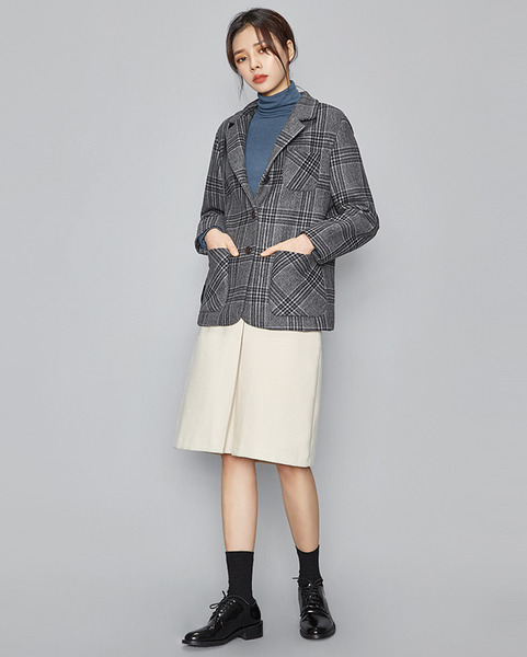 big check pattern 3 button jacket (2 colors)