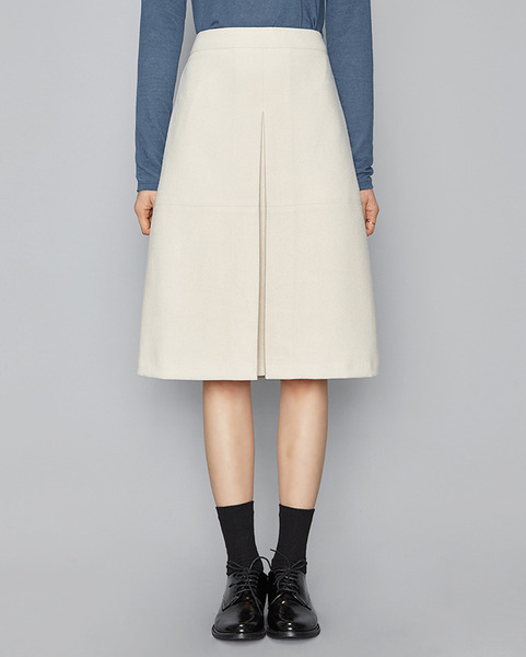 front pleated midi skirt (3 colors)