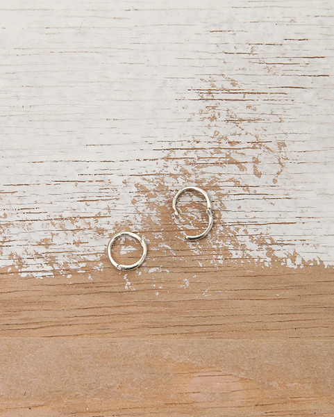 silver tiny ring earring