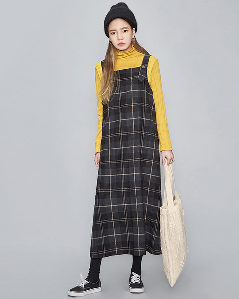 vintage check overall long ops (2 colors)