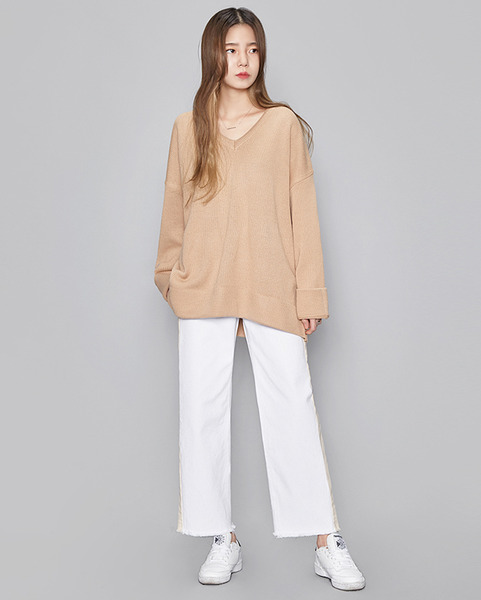 boxy fit V-neck knit (5 colors)