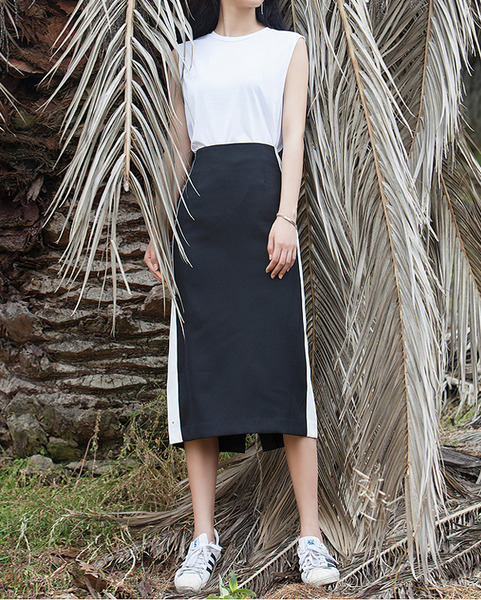 'JEJU' side line point midi skirt