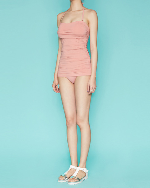 side pleat pink one-piece bikini