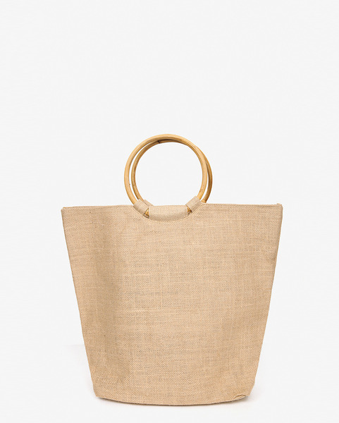 ring strap linen tote bag