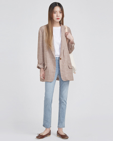 linen check single jacket (2 colors)