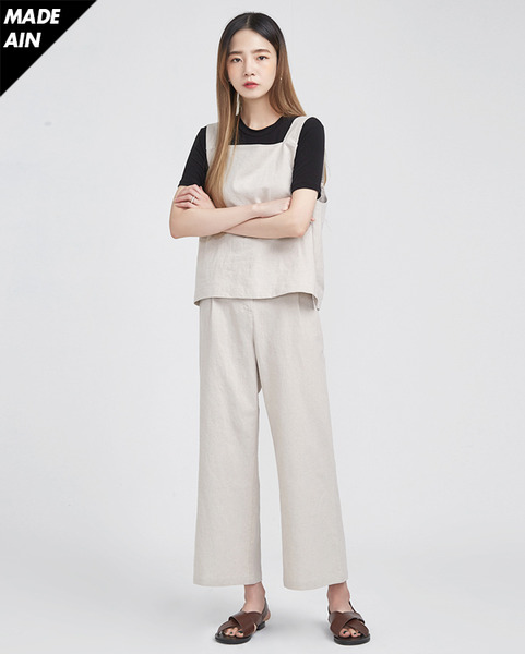 FRESH A linen bustier pants SET (2 colors)