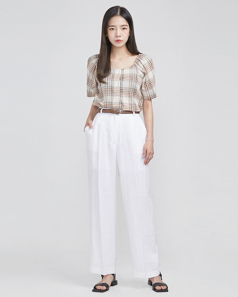 two-way check blouse