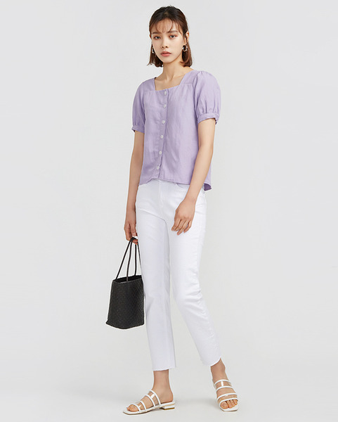 low square neck puff blouse