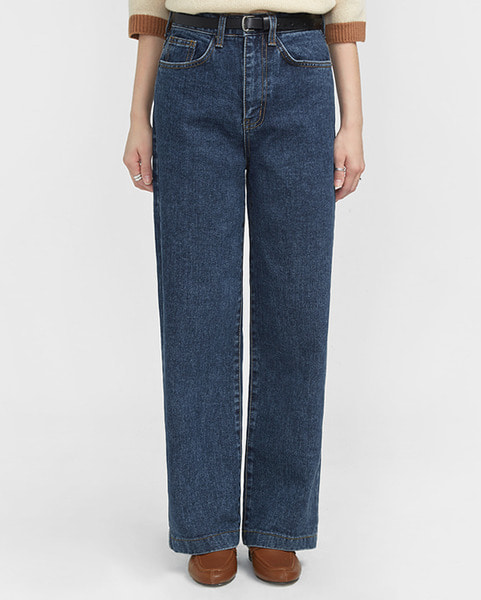 thick washing wide denim pants (s, m, l)
