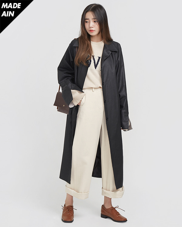 FRESH A single trench coat ( BLACK )