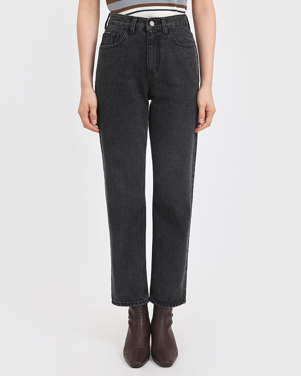 solid straight denim pants (s, m)