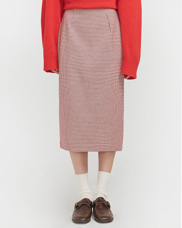 hound tooth check midi skirt (s, m)
