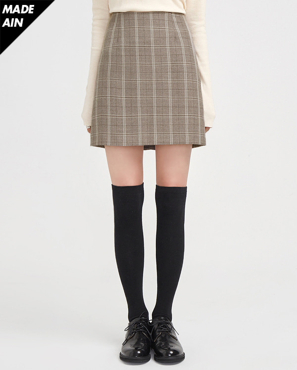 FRESH A simple check mini skirt (s, m)