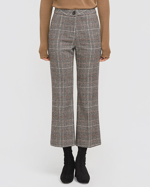 glossy check semi-boots pants (s, m)