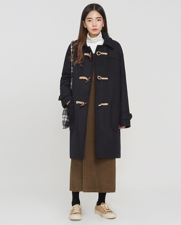 plait daily wool duffel coat