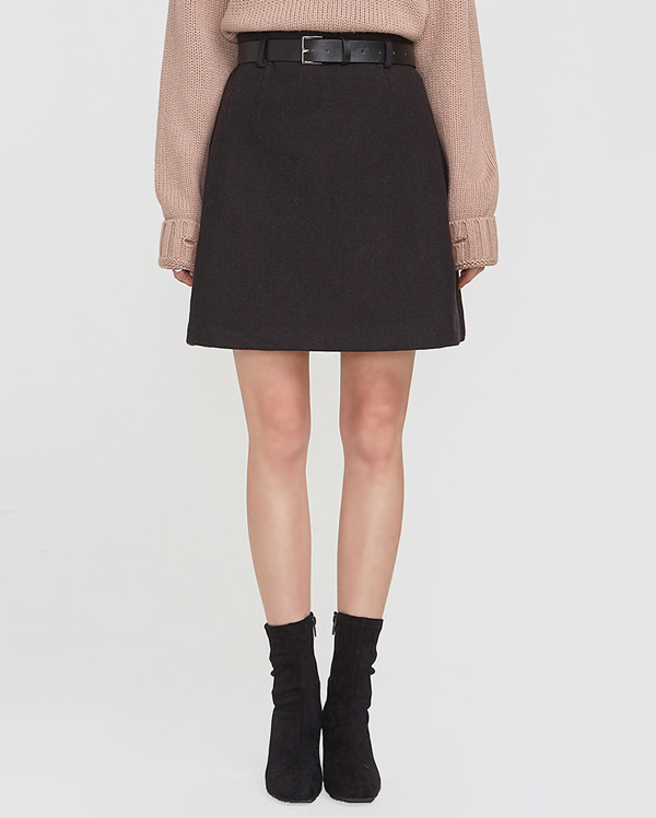 belt herringbone wool skirt (s, m)
