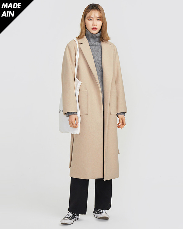 FRESH A wool long strap coat