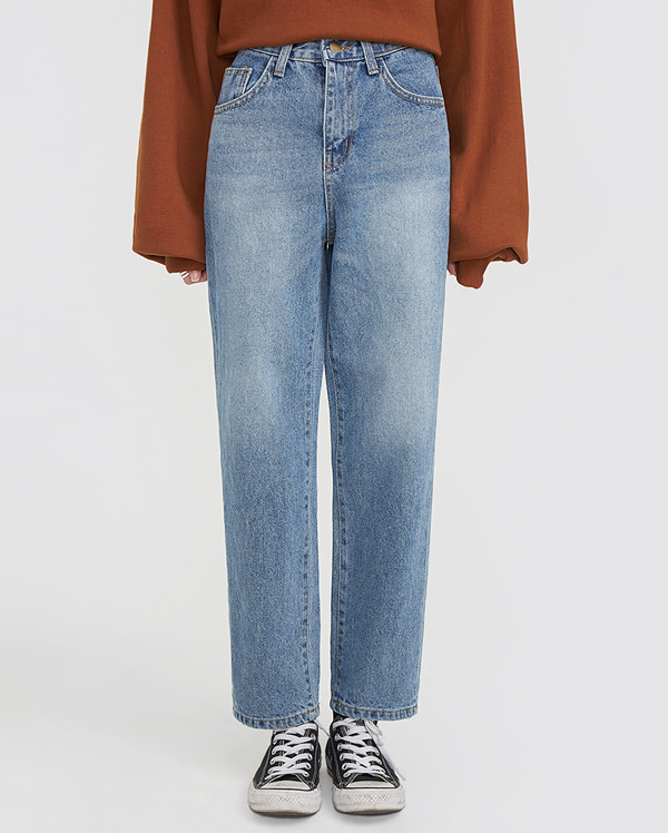 one day denim straight pants (s, m)