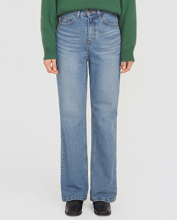 cheese long straight denim pants (s, m)