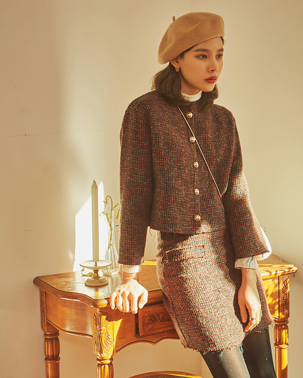 last cutting tweed wool skirt (s, m)