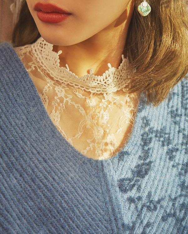 feminine lace neck blouse