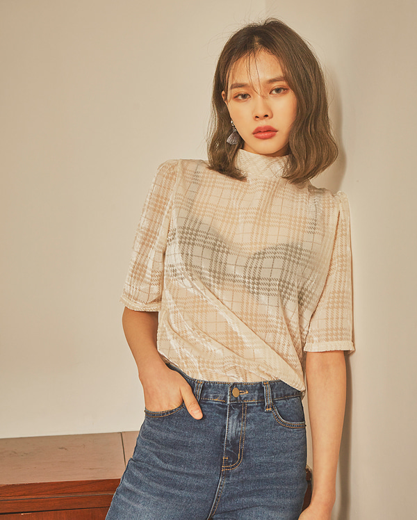 cake see-through check blouse