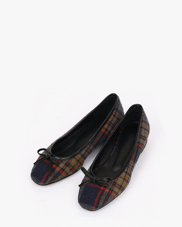 ribbon check flat shoes (225-250)