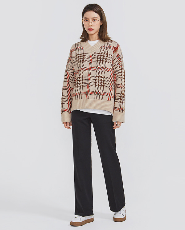 one day tartan check knit