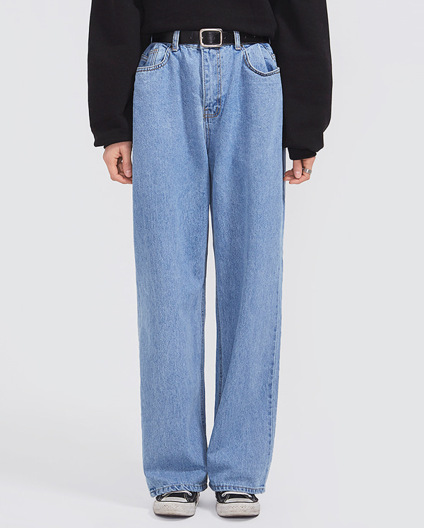 coast wide denim pants (s, m)