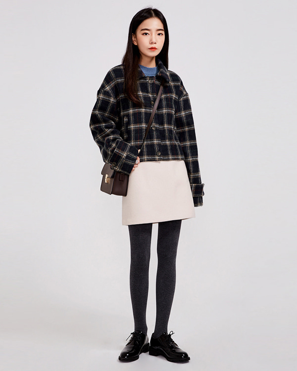 appeal check wool short jacket