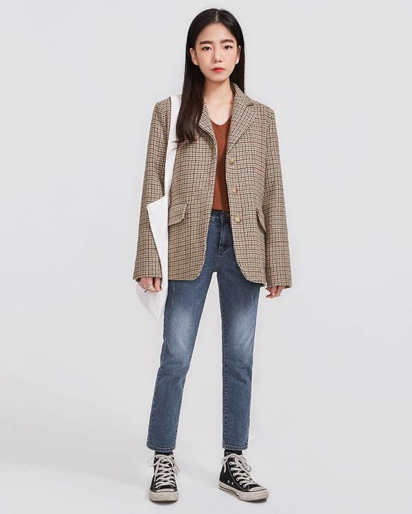 mood wool check jacket