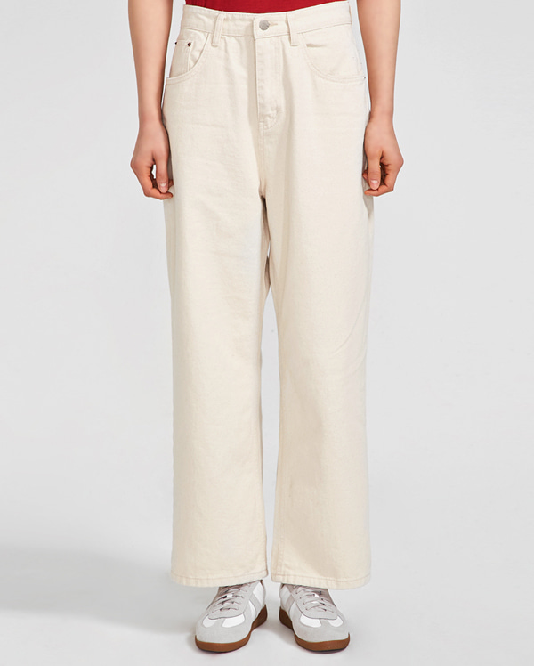 solid casual wide cotton pants (s, m)