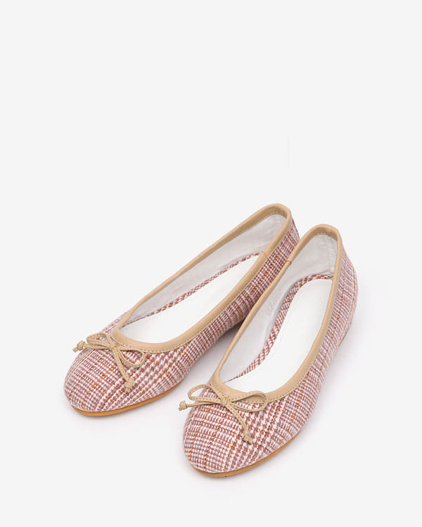 fabric check flat shoes (225-250)
