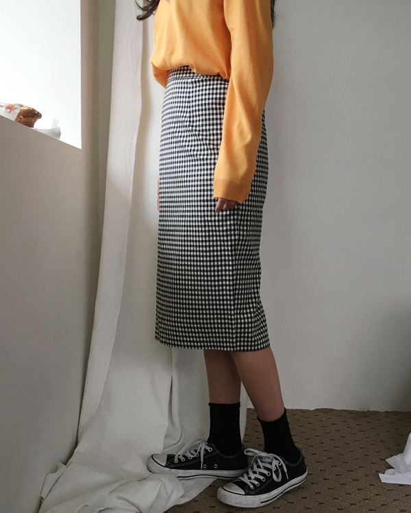 from check midi skirt