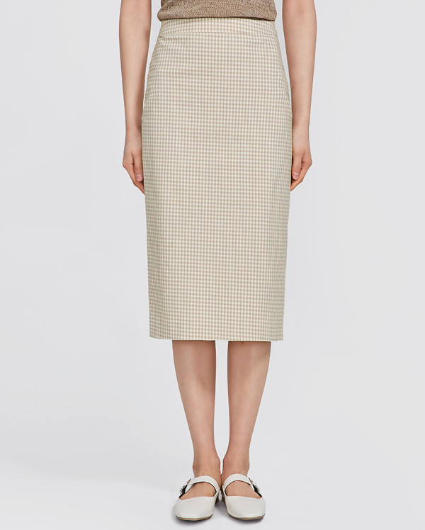 deland slim check midi skirt (s, m)