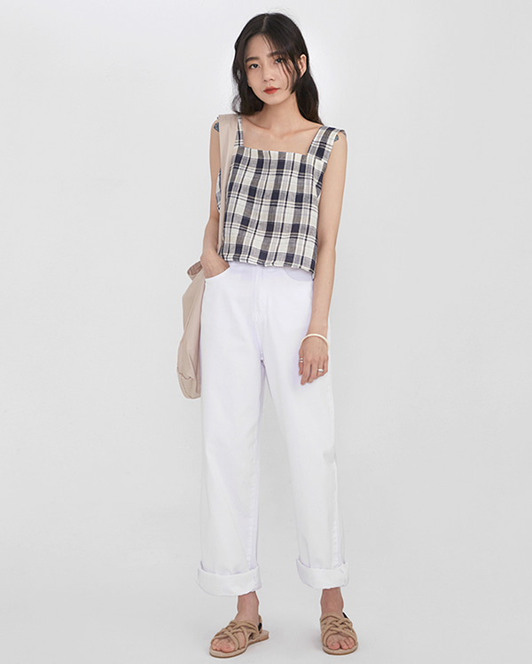 back ribbon check sleeveless
