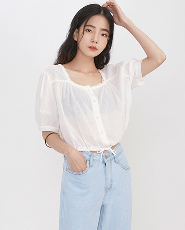 square neck crop blouse