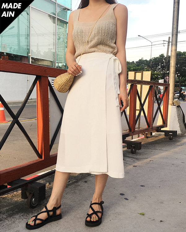 FRESH A long wrap skirt