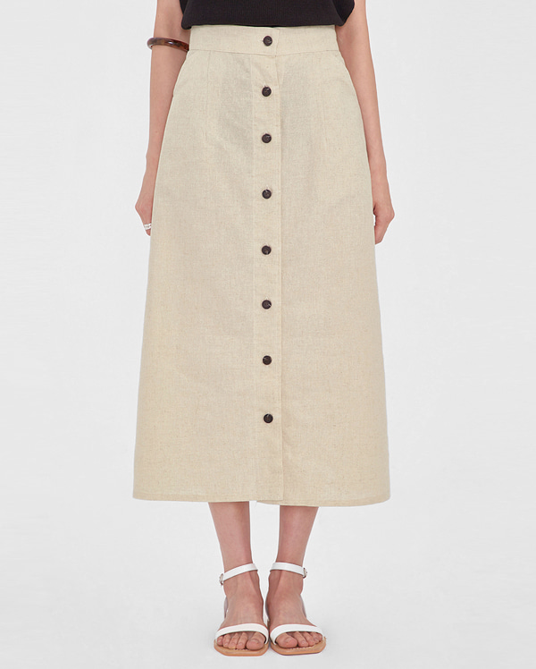 kiko button linen skirt
