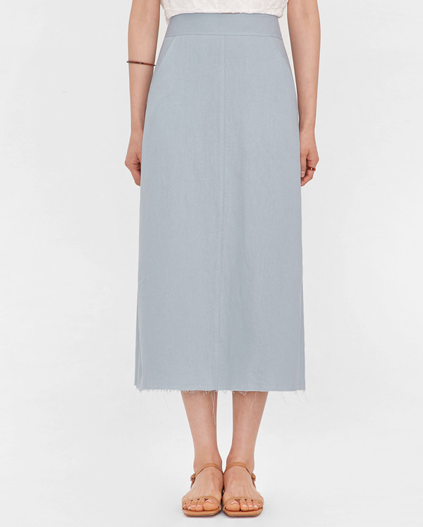 pure cutting linen long skirt (s, m)