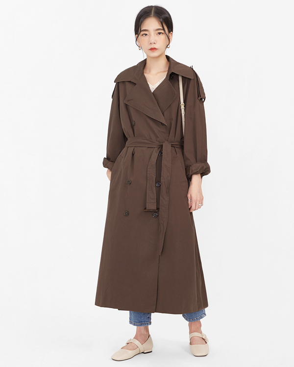 rustle long trench coat