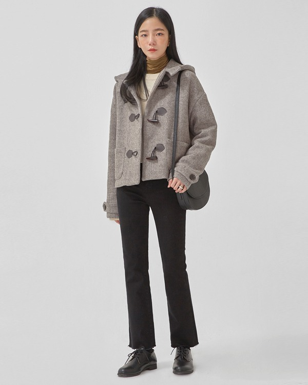 air herringbone wool duffle jacket