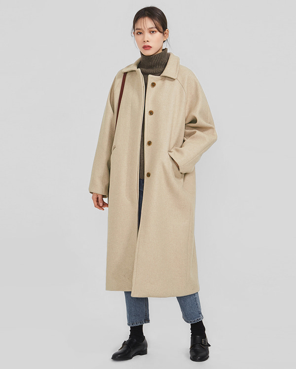plain raglan wool coat