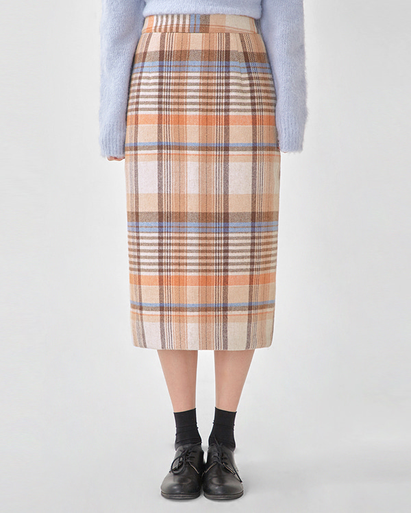 ere vintage wool check skirt (s, m)