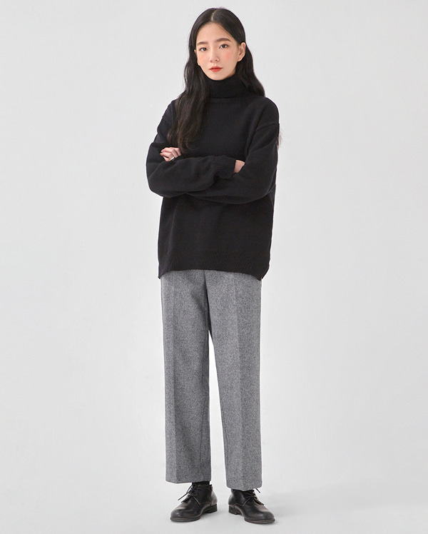 boxy wool simple polar knit