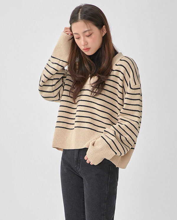 maple wool v-neck knit